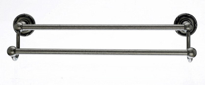 "18"" Double Towel Bar With Ribbon & Reed Detail In Antique Pewter-DirectSinks"