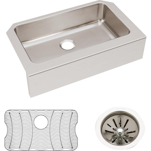 "Elkay Lustertone Classic Stainless Steel 33"" x 20-1/2"" x 8"" Single Bowl Farmhouse Sink Kit"