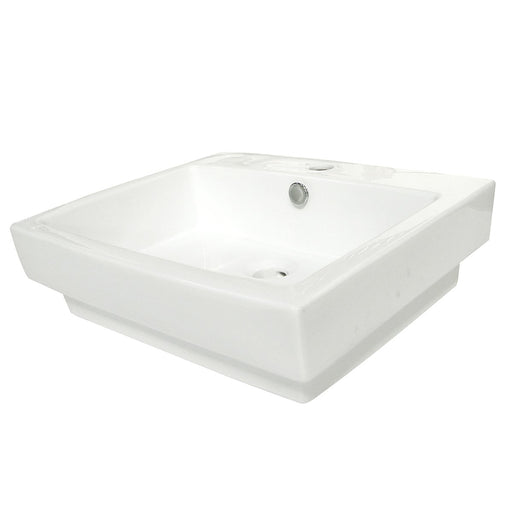 Kingston Brass Plaza White China Vessel Bathroom Sink with Overflow Hole and Faucet Hole-Bathroom Sinks-Free Shipping-Directsinks.