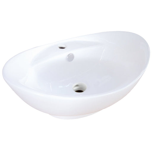 Kingston Brass Harmon White China Vessel Bathroom Sink with Overflow Hole and Faucet Hole-Bathroom Sinks-Free Shipping-Directsinks.