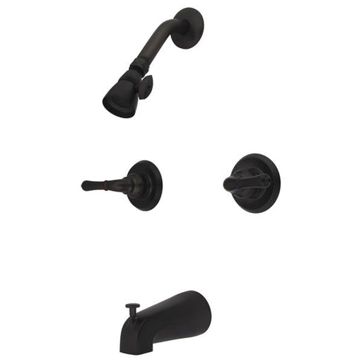 Kingston Brass GKB245 Water Saving Magellan 2-Handle Tub and Shower Faucet in Oil Rubbed Bronze with Water Savings Showerhead-Shower Faucets-Free Shipping-Directsinks.
