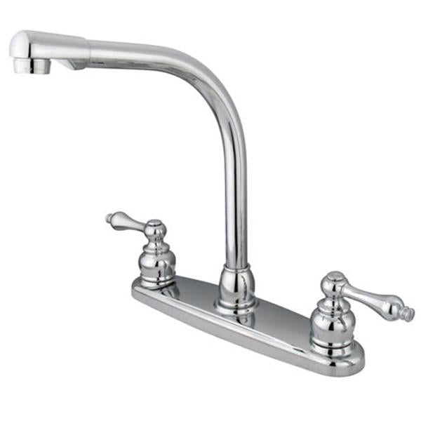 Kingston Brass Water Saving Victorian High Arch Kitchen Faucet with Lever  Handles
