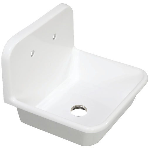 Kingston Brass Gourmetier Arcticstone 24 in. Solid Surface Farmhouse Kitchen Sink with Backsplash