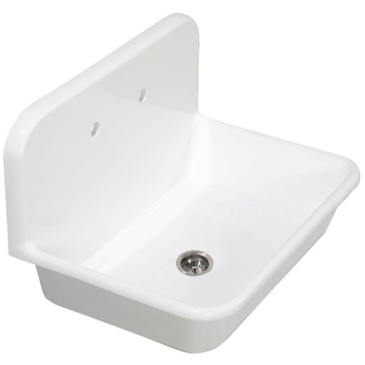 Kingston Brass Gourmetier Arcticstone 30 in. Solid Surface Farmhouse Kitchen Sink with Backsplash