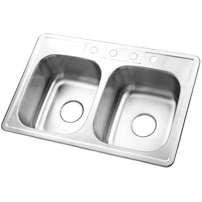 Gourmetier Studio GKTD33228 Self-Rimming Double Bowl Kitchen Sink, Satin Nickel-Kitchen Sinks-Free Shipping-Directsinks.