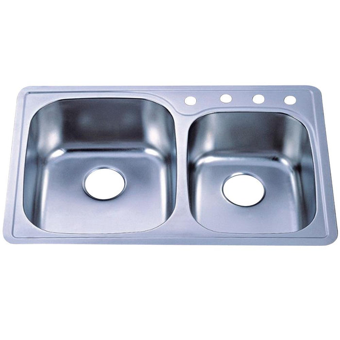 Gourmetier Studio GKTDD3322CH Self-Rimming Double Bowl Kitchen Sink, Satin Nickel-Kitchen Sinks-Free Shipping-Directsinks.