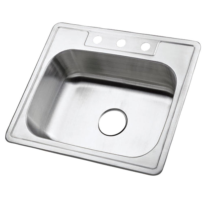 Gourmetier Studio GKTS2520 Self-Rimming Single Bowl Kitchen Sink, Satin Nickel-Kitchen Sinks-Free Shipping-Directsinks.