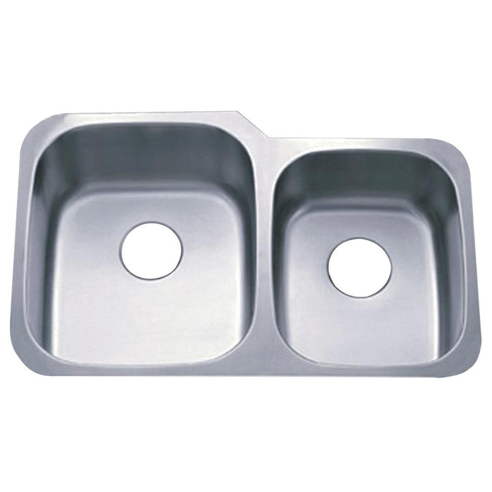 Gourmetier Loft GKUD3221P Undermount Double Bowl Kitchen Sink, Satin Nickel-Kitchen Sinks-Free Shipping-Directsinks.