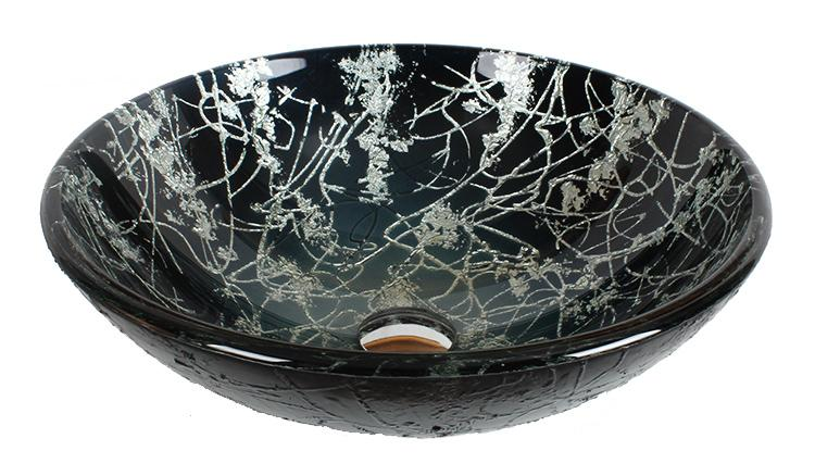 Dawn Round Shape Black and White Tempered Glass Handmade Vessel Bathroom Sink-Bathroom Sinks Fast Shipping at DirectSinks.