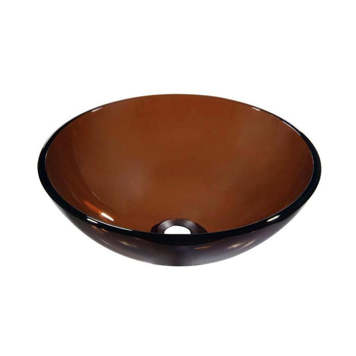 Dawn Tempered Brown Glass Round Shape Vessel Bathroom Sink-Bathroom Sinks Fast Shipping at DirectSinks.