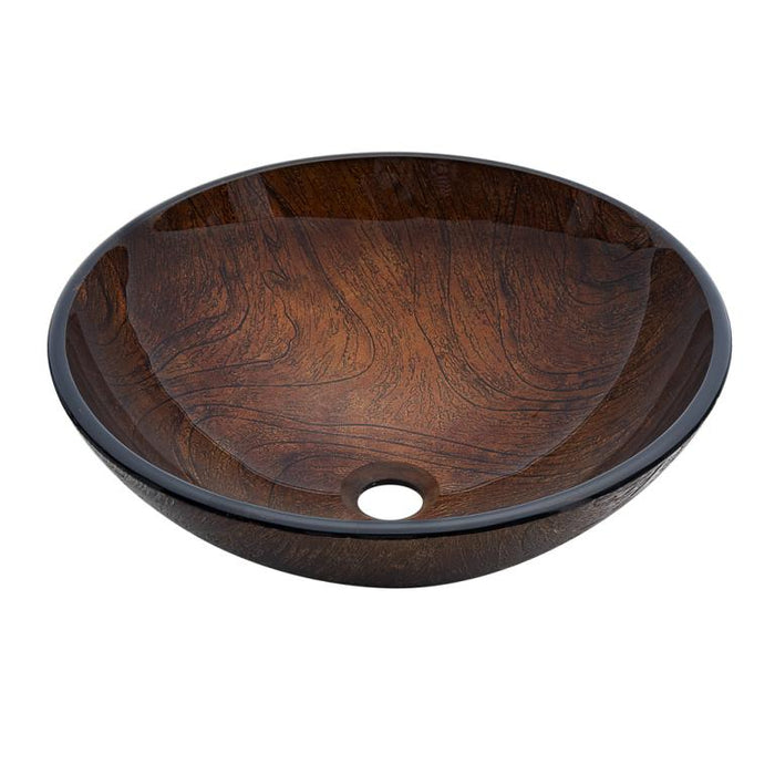 Dawn Tempered Glass Hand Painted Brown Round Shape Vessel Bathroom Sink-Bathroom Sinks Fast Shipping at DirectSinks.