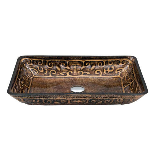 Dawn Rectangular Shape Hand Painted Bronze Tempered Glass Vessel Bathroom Sink-Bathroom Sinks Fast Shipping at DirectSinks.