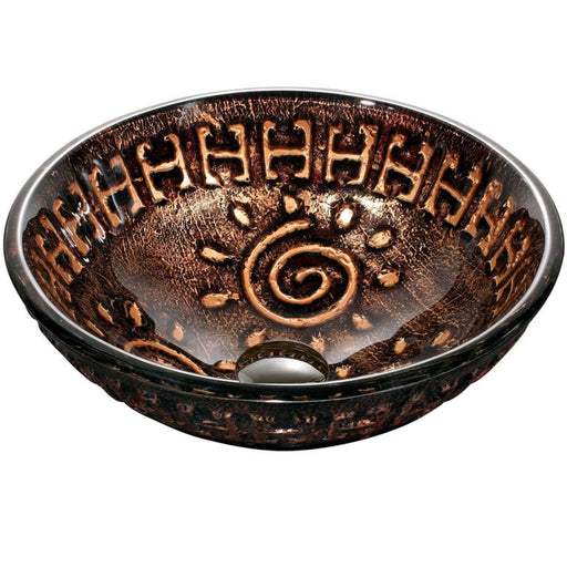 Dawn Round Shape Hand Painted Copper and Gold Tempered Glass Vessel Bathroom Sink-Bathroom Sinks Fast Shipping at DirectSinks.