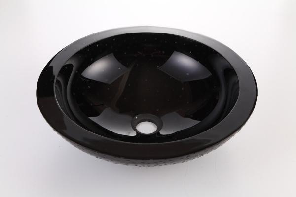 Dawn Round Shape Black Tempered Glass Handmade Vessel Bathroom Sink-Bathroom Sinks Fast Shipping at DirectSinks.
