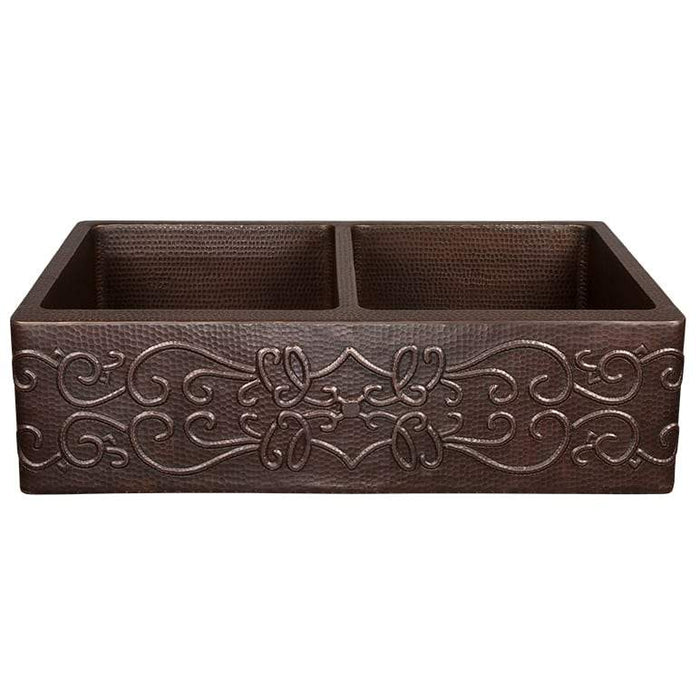 "Premier Copper Products 33"" Hammered Copper Kitchen Apron 50/50 Double Basin Sink with Scroll Design-DirectSinks"