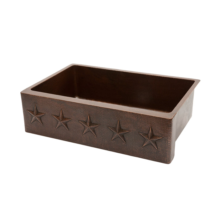 "Premier Copper Products 33"" Hammered Copper Kitchen Apron Single Basin Sink with Star Design-DirectSinks"