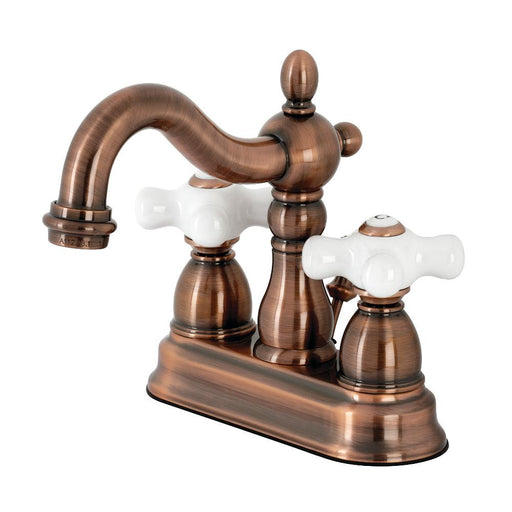 Kingston Brass KB160PXAC Heritage 4 in. Centerset Bathroom Faucet, Antique Copper