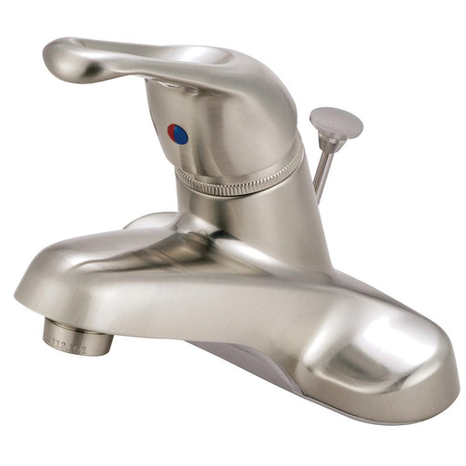"Kingston Brass Wyndham Single Handle 4"" Centerset Lavatory Faucet with Brass Pop-up in Satin Nickel-Bathroom Faucets-Free Shipping-Directsinks."