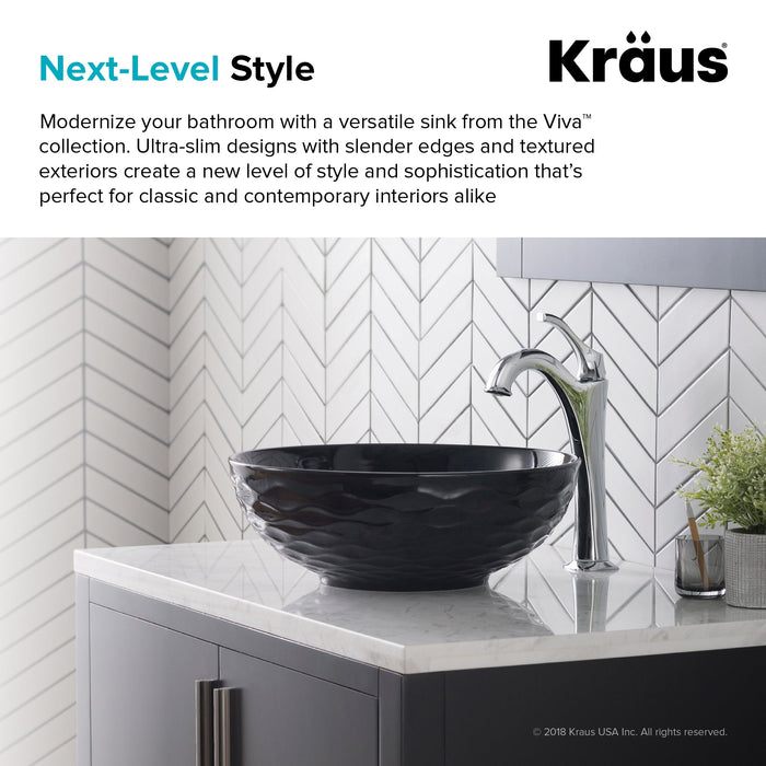 KRAUS Viva™ Round Black Porcelain Ceramic Vessel Bathroom Sink with Pop-Up Drain, 16 1/2D x 5 1/2H-Bathroom Sinks-KRAUS Fast Shipping