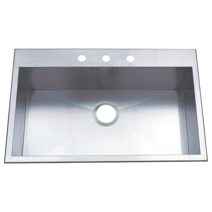 "Gourmetier KDS32219BN UPTOWNE 32"" x 21"" Self-Rimming Single Bowl Sink, Satin Nickel-Kitchen Sinks-Free Shipping-Directsinks."