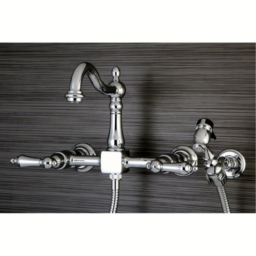 Kingston Brass Heritage 8-Inch Centerset Wall Mount Kitchen Faucet with Brass Sprayer