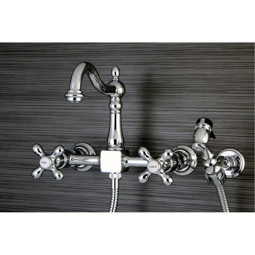 "Kingston Brass Heritage 8"" Centerset Wall Mount Kitchen Faucet with Brass Sprayer"