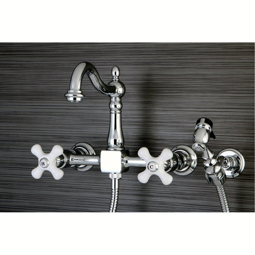 "Kingston Brass Heritage Wall Mount 8"" Centerset Kitchen Faucet with Brass Sprayer"