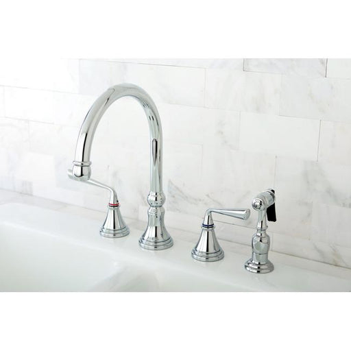 "Kingston Brass Silver Sage 8"" Deck Mount Kitchen Faucet with Brass Sprayer-Kitchen Faucets-Free Shipping-Directsinks."