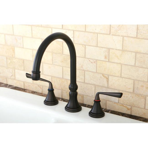 Kingston Brass KS2795ZLLS Silver Sage Widespread ADA Kitchen Faucet without Sprayer in Oil Rubbed Bronze-Kitchen Faucets-Free Shipping-Directsinks.