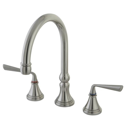 Kingston Brass KS2798ZLLS Silver Sage Double Handle Widespread Kitchen Faucet without Brass Sprayer-Kitchen Faucets-Free Shipping-Directsinks.