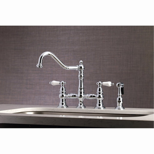 Kingston Brass Restoration 8-Inch Bridge Kitchen Faucet with Sprayer