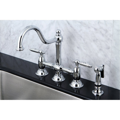 Kingston Brass Restoration Deck Mount Kitchen Bridge Faucet with Brass Sprayer