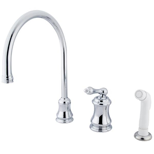 Kingston Brass Single Handle Widespread Kitchen Faucet with Non-Metallic Sprayer and Metal Lever Handle-Kitchen Faucets-Free Shipping-Directsinks.