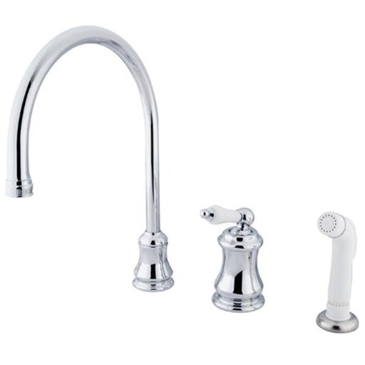 Kingston Brass Classic Single Handle Widespread Kitchen Faucet with Non-Metallic Sprayer-Kitchen Faucets-Free Shipping-Directsinks.