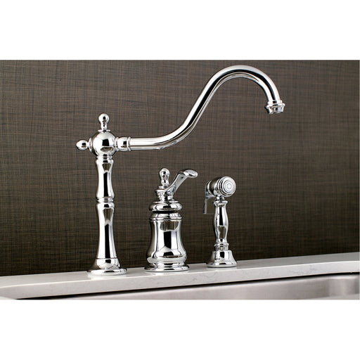 Kingston Brass Templeton Single Handle Widespread Kitchen Faucet with Brass Sprayer-Kitchen Faucets-Free Shipping-Directsinks.