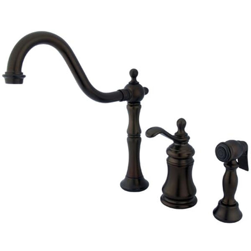 Kingston Brass Templeton Single Handle Widespread Kitchen Faucet with Brass Sprayer in Oil Rubbed Bronze-Kitchen Faucets-Free Shipping-Directsinks.