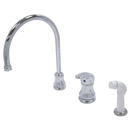 Kingston Brass Wyndham Single Loop Handle Widespread Kitchen Faucet with White Sprayer-Kitchen Faucets-Free Shipping-Directsinks.