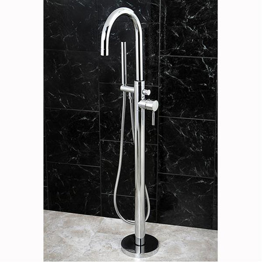 Kingston Brass Concord Floor Mount Tub Filler with Hand Shower-Tub Faucets-Free Shipping-Directsinks.