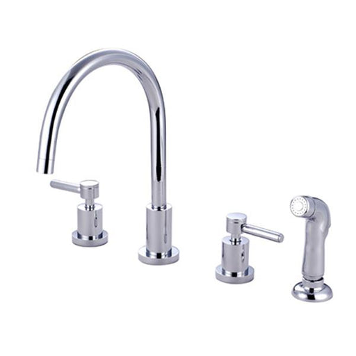 Kingston Brass Concord Double Handle Widespread Kitchen Faucet with Non-Metallic Sprayer-Kitchen Faucets-Free Shipping-Directsinks.
