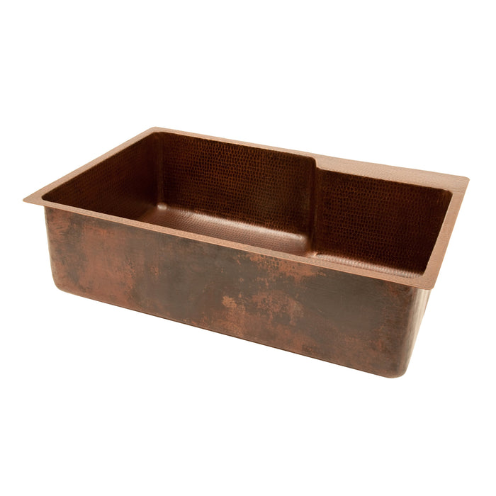 "Premier Copper Products 33"" Hammered Copper Kitchen Single Basin Sink with Space For Faucet-DirectSinks"