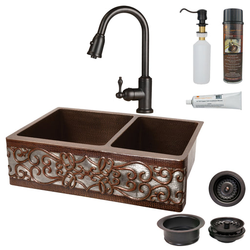 Premier Copper Products - KSP2_KA60DB33229S-NB Kitchen Sink, Faucet and Accessories Package-DirectSinks