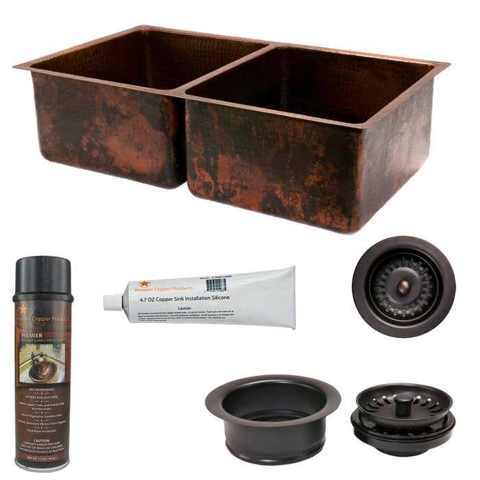Premier Copper Products - KSP3_K50DB33199 Kitchen Sink and Drain Package-DirectSinks