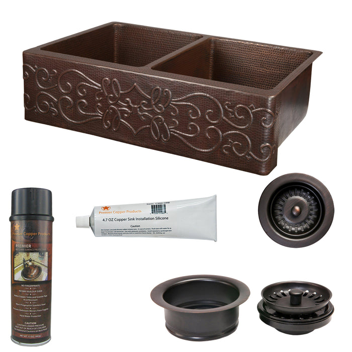Premier Copper Products - KSP3_KA50DB33229S Kitchen Sink and Drain Package-DirectSinks
