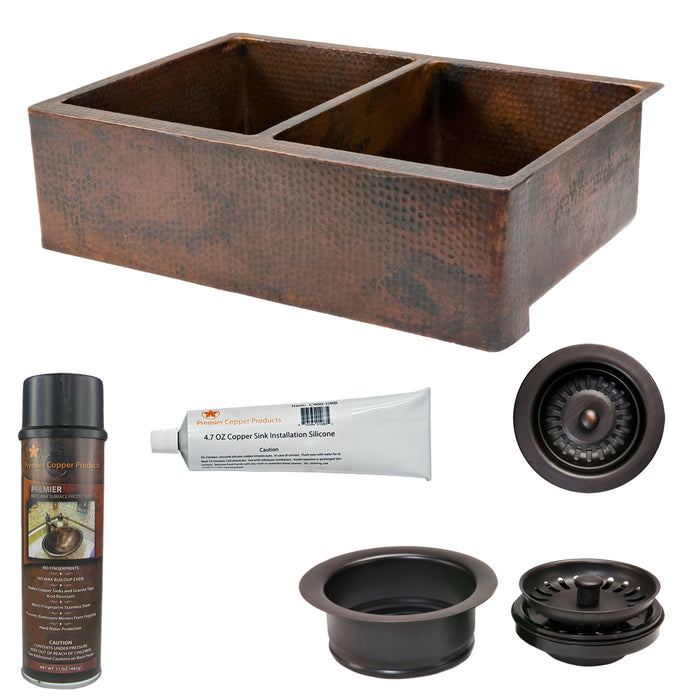 Premier Copper Products - KSP3_KA50DB33229 Kitchen Sink and Drain Package-DirectSinks