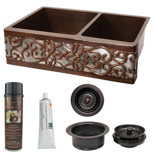 Premier Copper Products - KSP3_KA60DB33229S-NB Kitchen Sink and Drain Package-DirectSinks