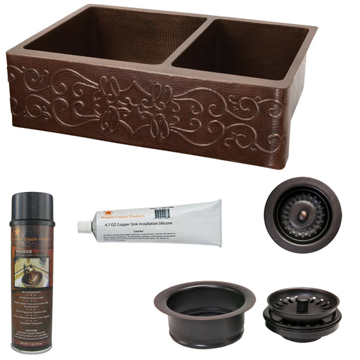 Premier Copper Products - KSP3_KA60DB33229S Kitchen Sink and Drain Package-DirectSinks