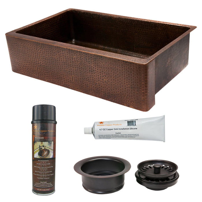 Premier Copper Products - KSP3_KASDB35229 Kitchen Sink and Drain Package-DirectSinks