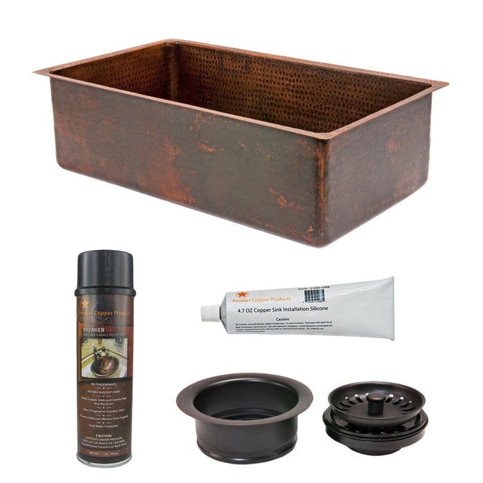 Premier Copper Products - KSP3_KSDB30199 Kitchen Sink and Drain Package-DirectSinks