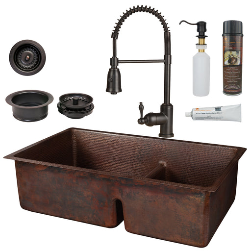 Premier Copper Products - KSP4_K60DB33229-SD5 Kitchen Sink, Faucet and Accessories Package-DirectSinks