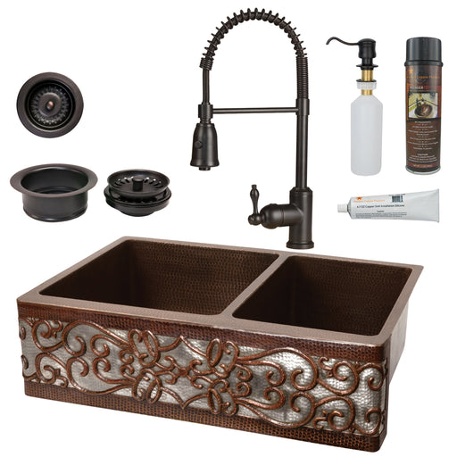 Premier Copper Products - KSP4_KA60DB33229S-NB Kitchen Sink, Faucet and Accessories Package-DirectSinks